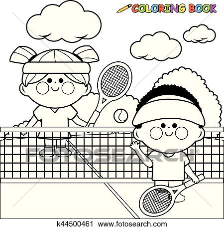 Clipart of Children playing tennis. Black and white coloring book ...
