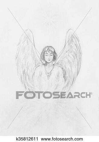 Disegno Di Angelo Con Bello Ali Su Uno Paper Clipart K35812611