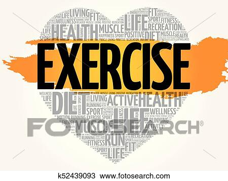 Exercise Heart Word Cloud Clipart K52439093 Fotosearch