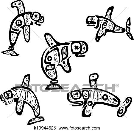 b1873cf297da8 Native indian shoshone tribal drawings. Whales Clipart | k19944625 ...