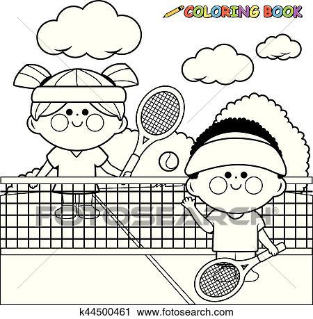 Clipart - niños jugar, tennis., negro y blanco, libro colorear ...