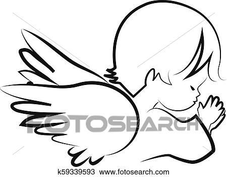 Orando Anjo Crianca Acreditar Icone Vetorial Clipart