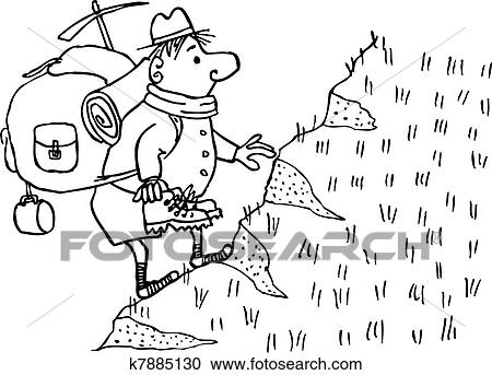 Clipart Of Over Cautious Tourist K7885130