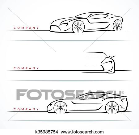 Clipart Of Set Of Sports Car Silhouettes Vector Illustration