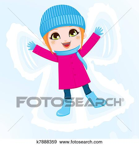 clip art of snow angel girl k7888359 search clipart illustration rh fotosearch com Playing in the Snow Clip Art Snowboarding Clip Art
