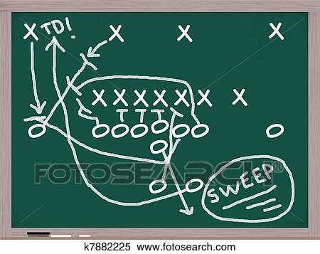 Stock Illustration Of Sweep Football Play On Chalkboard K7882225