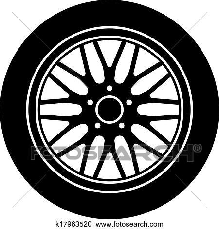 clipart of vector car aluminum wheel black white symbol k17963520