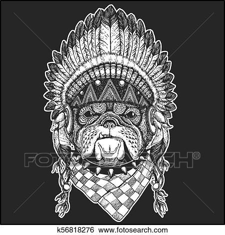 90c8251e42f08 Clip Art Of Bulldog Cool Animal Wearing Native American Indian