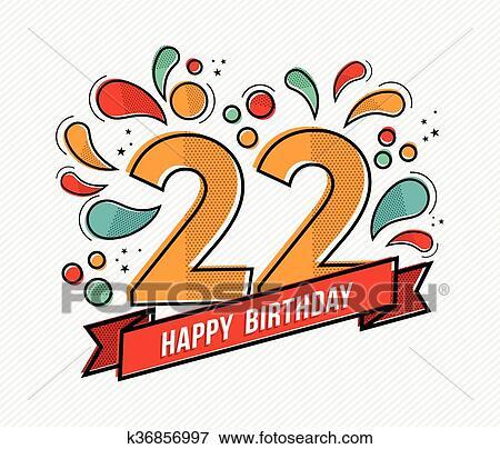 Buntes Alles Gute Geburtstag Zahl 22 Flache Zeile Design Clip