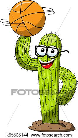 Cactus Cartoon Funny Character Vector Basketball Ball Finger Isolated Clipart K65535144 Fotosearch