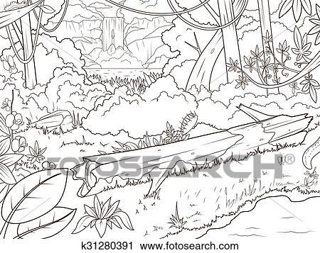 Dschungel, Wald, Waterfal, Ausmalbilder, Karikatur Clipart