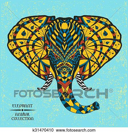 clipart of elephant ethnic patterned vector illustration african