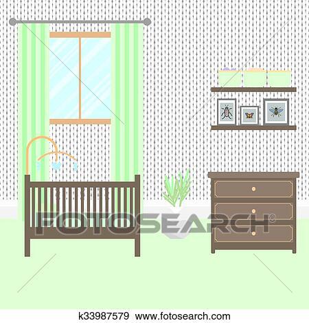 Clip Art - guardería infantil, habitación, con, furniture., bebé ...