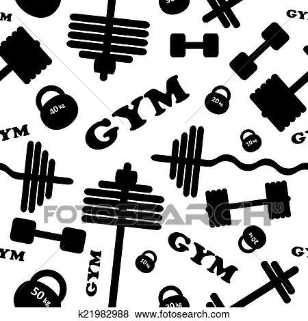 Clip Art Of Gym Seamless Vector Pattern K21982988