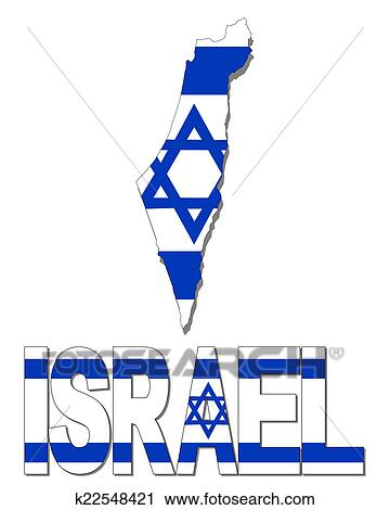 Charming Clipart   Israel Map Flag And Text Illustration. Fotosearch   Search Clip  Art, Illustration