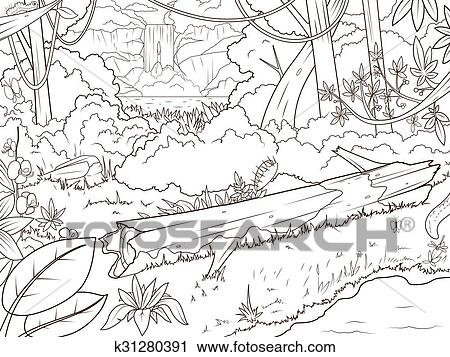 - Jungle Forest Waterfal Coloring Book Cartoon Clipart K31280391  Fotosearch