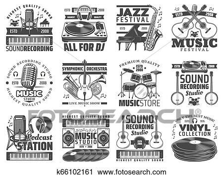 Music store, DJ sound recording studio icons Clipart