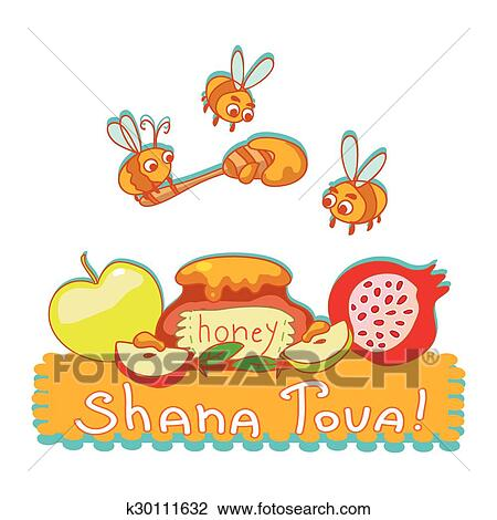 Clipart of shana tova greeting card cute background with bees clipart shana tova greeting card cute background with bees honey pomegranate and m4hsunfo