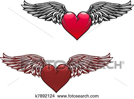 Clipart Of Vintage Heart With Wings K7892124 Search Clip Art