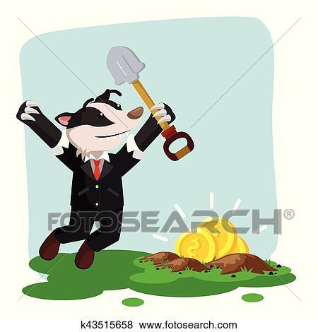 clip art of business honey badger found gold when digging k43515658 rh fotosearch com dog digging clipart dog digging clipart