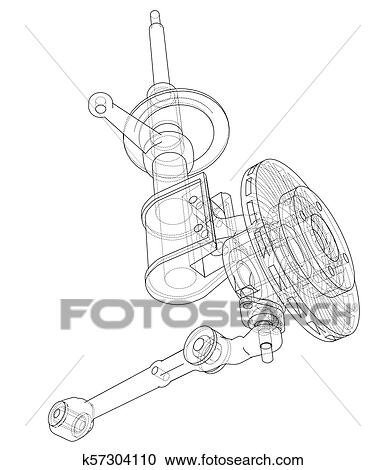 Car dampers with brake disc outline  Vector Clipart