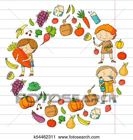 Children School And Kindergarten Healthy Food And Drinks Kids Cafe Fruits And Vegetables Boys And Girls Eat Healthy Food And Snacks Vector Doodle Preschool Pattern With Cartoons Kids Drawing Clipart K54462311