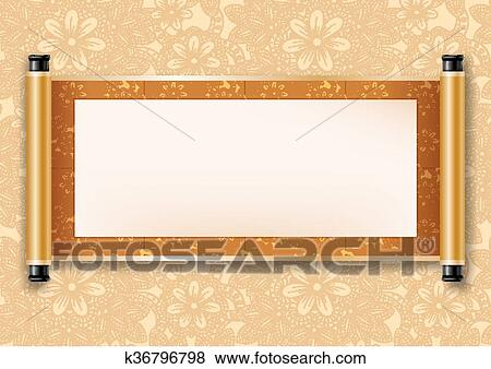 clip art of chinese scroll k36796798 search clipart illustration