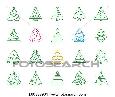 Christmas Tree Icon.Christmas Tree Simple Color Line Icons Vector Set Clipart