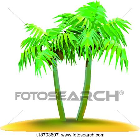 Clip Art   Coconut Palm Trees On Small Island. Fotosearch   Search Clipart,  Illustration