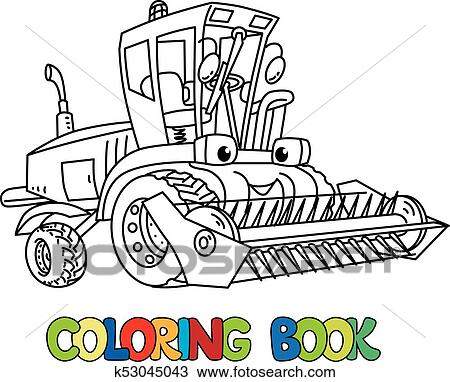 Clipart of Combine or lawn mower with eyes coloring book k53045043 ...