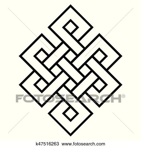 Clipart Of Cultural Symbol Of Buddhism Endless Knot K47516263