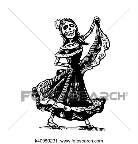 Clipart Of Day Of The Dead Dia De Los Muertos The Skeleton In The