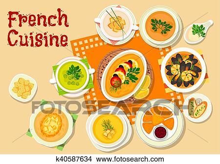 Französische Küche | Clipart Franzosische Kuche Suppen Und Zwischenmalzeit Geschirr