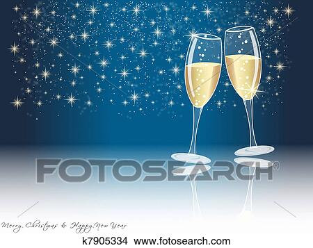 drawing happy new year champagne glasses fotosearch search clip art illustrations wall