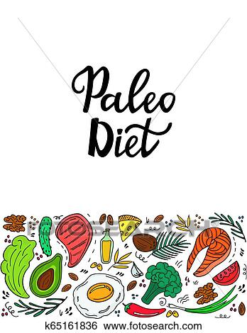 Ketogenic Nutrition Paleo Diet Banner With Organic Vegetables Nuts And Other Healthy Foods Low Carb Dieting Keto Meal Protein And Fat Clip Art K65161836 Fotosearch