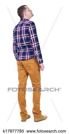 0f40463e7 Visión trasera, de, guapo, hombre, en, a cuadros, camisa, looking.,  posición, joven, tipo, en, jeans., vista trasera, gente, collection.,  trasero, vista, ...