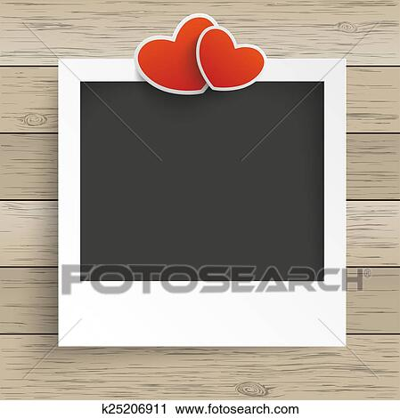 Clipart Of Wood Photo Frame 2 Hearts K25206911