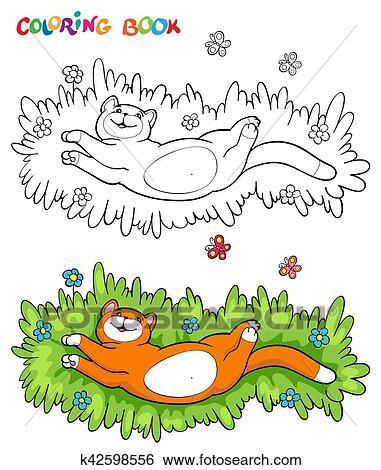 Clip Art Ausmalbilder Mit Rot Katz Gras Mit Zwei