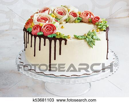Pleasing Birthday Cake With Flowers Rose On White Background Stock Image Personalised Birthday Cards Cominlily Jamesorg