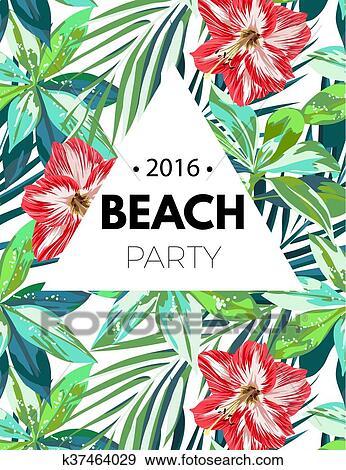 Fiori Hawaiani Disegni.Bright Hawaiian Design With Tropical Plants And Hibiscus Flowers