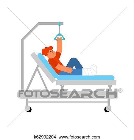 Child On Hospital Bed Boy With Broken Leg Kid Patient Hospital