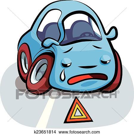 Crashed Car Cartoon Vector Clipart   k23651814   Fotosearch
