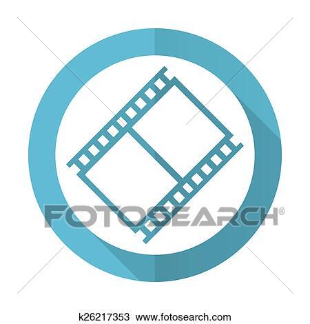 Drawing Of Film Blue Flat Icon Movie Sign Cinema Symbol K26217353