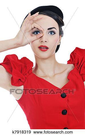 44a48fd95915 Hermoso, mujer joven, aislado, blanco Colección de foto
