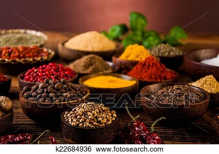 Indonesian seasoning with oriental wooden bowls Stock Photograph