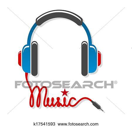 Clipart - kopfhörer, mit, schnur, und, wort, musik k17541593 - Suche ...