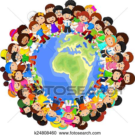 clipart of multicultural children cartoon on p k24808460 search rh fotosearch com multicultural clipart black and white free multicultural clipart for teachers
