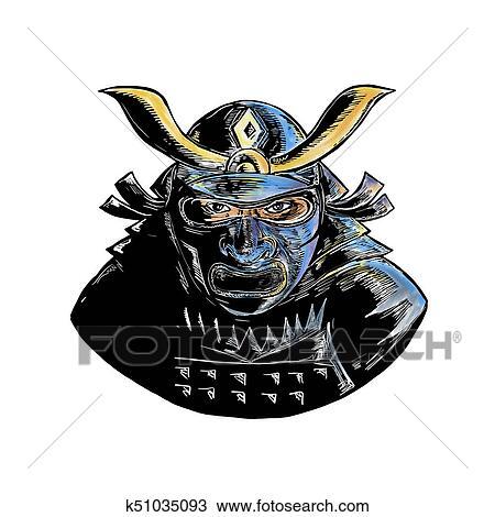 Samurai Desgastar Armadura Mascara Mempo Woodcut Desenho