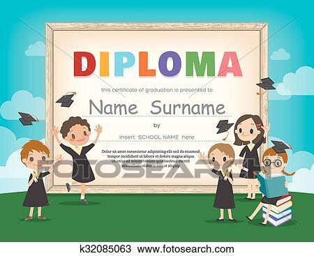 clipart of school kids diploma certificate design template k32085063