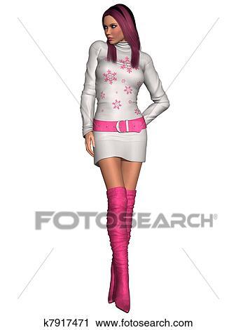51583e41746e Clipart of Sexy winter clothes k7917471 - Search Clip Art ...